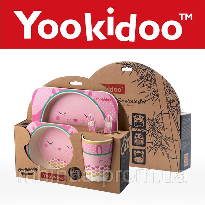 Набор детской посуды из бамбукового волокна Зайчик
