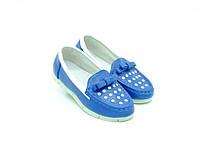Мокасины GFB для девочек синие эко кожа