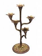 Подсвечник на 5 свечей Бронзовый цветок Популярный в качестве декоративных элементов интерьеров  Код: КГ4875