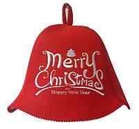 Шапка для сауни (червона), Merry Christmas, штучне хутро, Saunapro