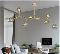 Люстра лофт молекула 8  белая,черная,золото (шары коньячный,димчатый,прозрачный), фото 1