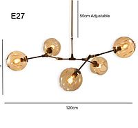 Люстра лофт молекула  белая,черная,золото  (5шаров) (цвет шара прозрачный,дымчатый,коньячный)