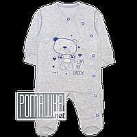 Человечек для новорожденного р. 56 для мальчика тонкий ткань КУЛИР-ПИНЬЕ 100% хлопок ТМ Кайлас 4153 Синий