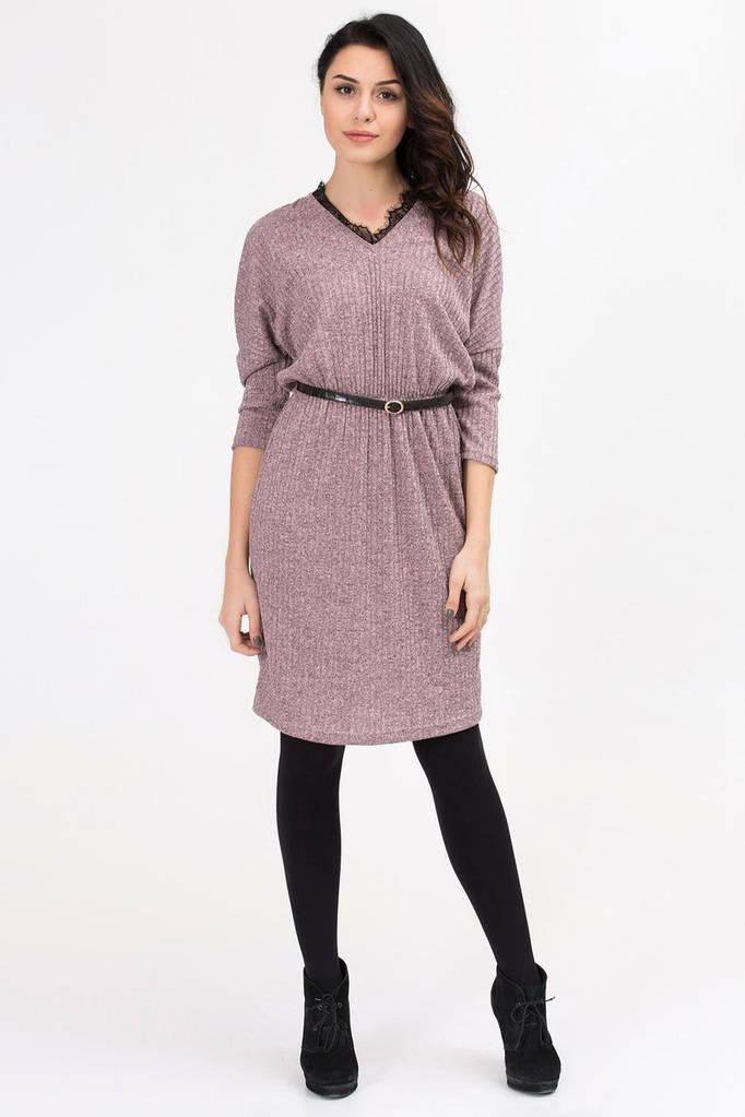 Пудровое трикотажное платье PATRICIA с кружевной окантовкой