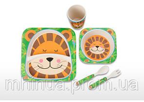 Набор детской посуды из бамбукового волокна Лев, фото 2