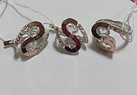 Набор Соломия из серебра с золотом и белым камнем