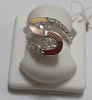 Кольцо Соломия серебро с золотом и белым камнем
