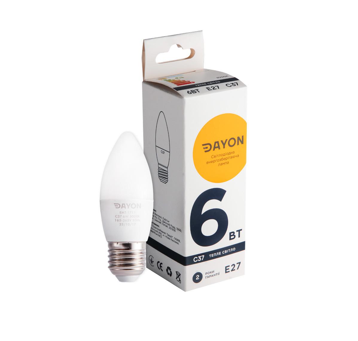 Светодиодная лампа DAYON EMT-1711 C37 6W 3000K E27