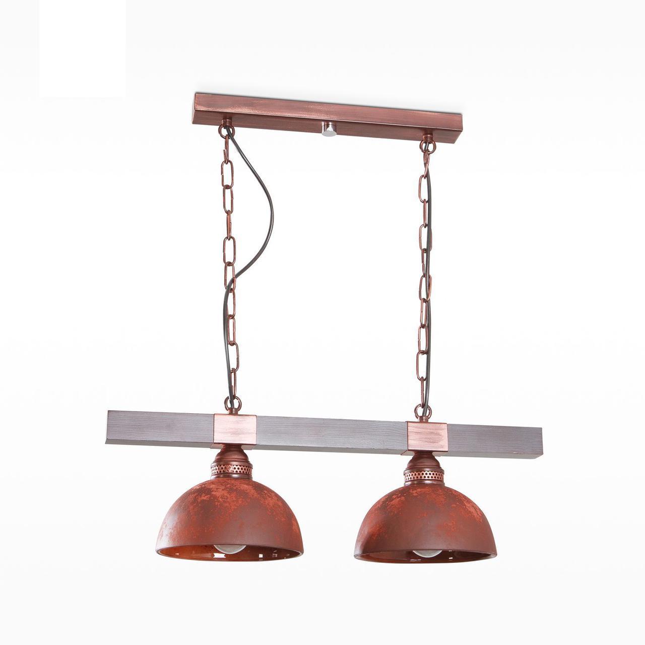 Люстра из дерева на цепях со стеклянными плафонами для кухни, кафе, ресторанов 40303-1