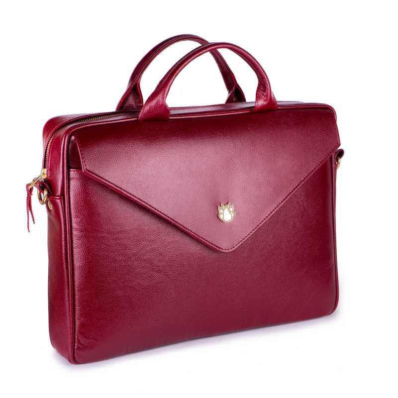 2ccfee29c242 Кожаная женская сумка для ноутбука бордовая Felice Fl15 (Польша) -  FashionVerdict - интернет-