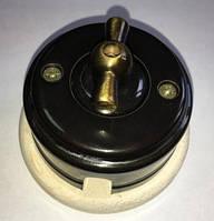 Выключатель накладной поворотный ZION черный глянец металлическая ручка, фото 1