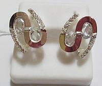 Серьги Соломия серебро с золотом и белым камнем, фото 1