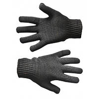 Перчатки вязанные черные двойные, L | 16-034