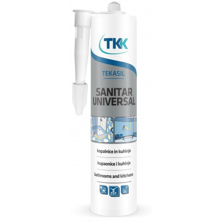 Герметик силиконовый санитарный Tekasil Sanitar Universal, белый, 280 мл | 12-340