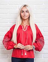 Современная женская вышиванка с красивой вышивкой, красная