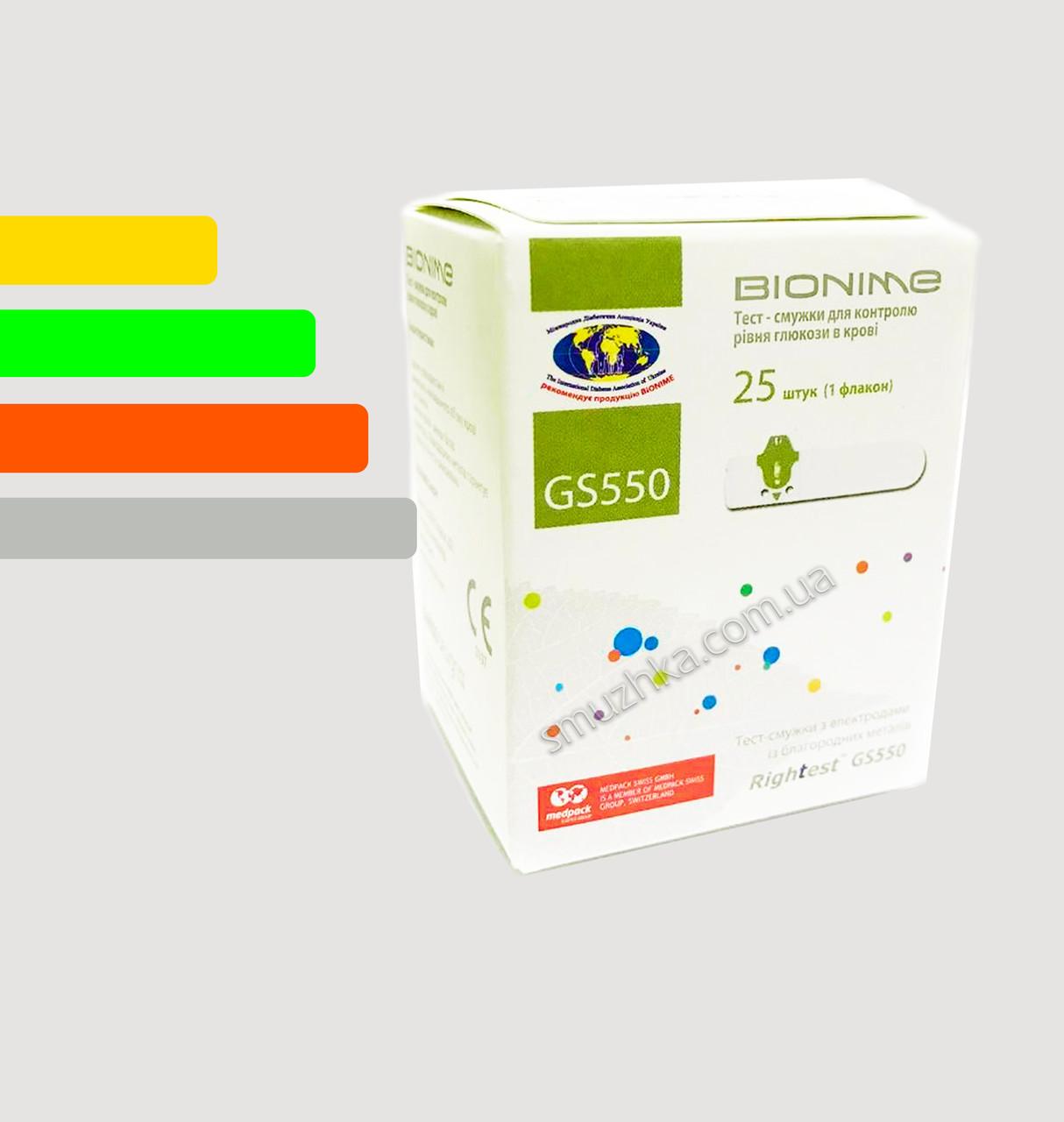 Тест смужки Bionime Rightest GS550 #25 - Біонайм GS550 #25