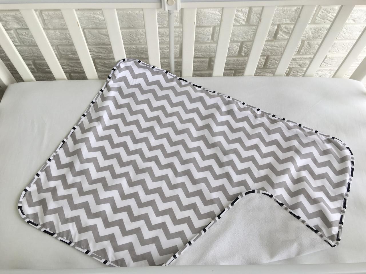 Непромокаемая многоразовая пеленка для новорожденного «Серый зигзаг», хлопок 6046d471eda