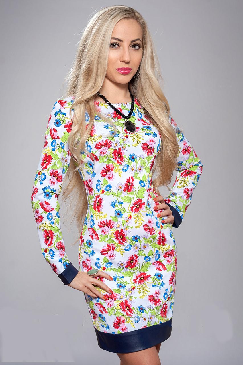 Женское платье в цветочек - новинка осени, р-ры 42,44,46,48
