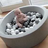 Бассейн Misioo Round 90х40 Cotton light grey 200 шариков