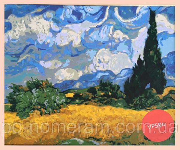 Пшеничное поле с кипарисами картина ван гога