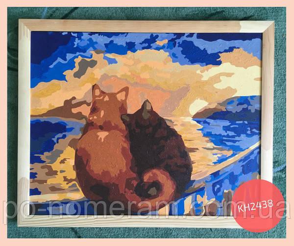 Картина по номерам с нарисованными кошками