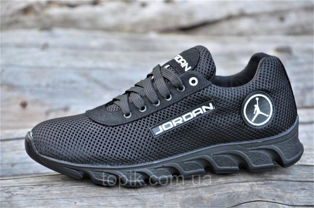 Стильные кроссовки мужские реплика Jordan сетка с замшей черные удобные (Код: 1182)