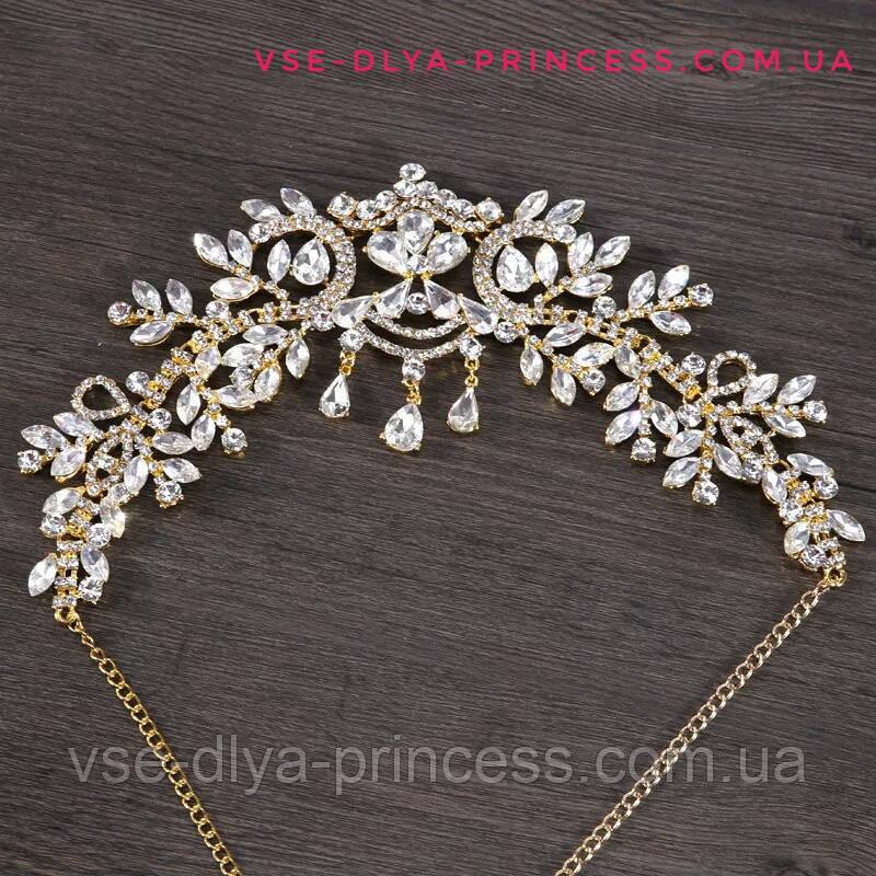 Диадема под золото с подвеснымы камнями, корона, тиара, высота 8,5 см.