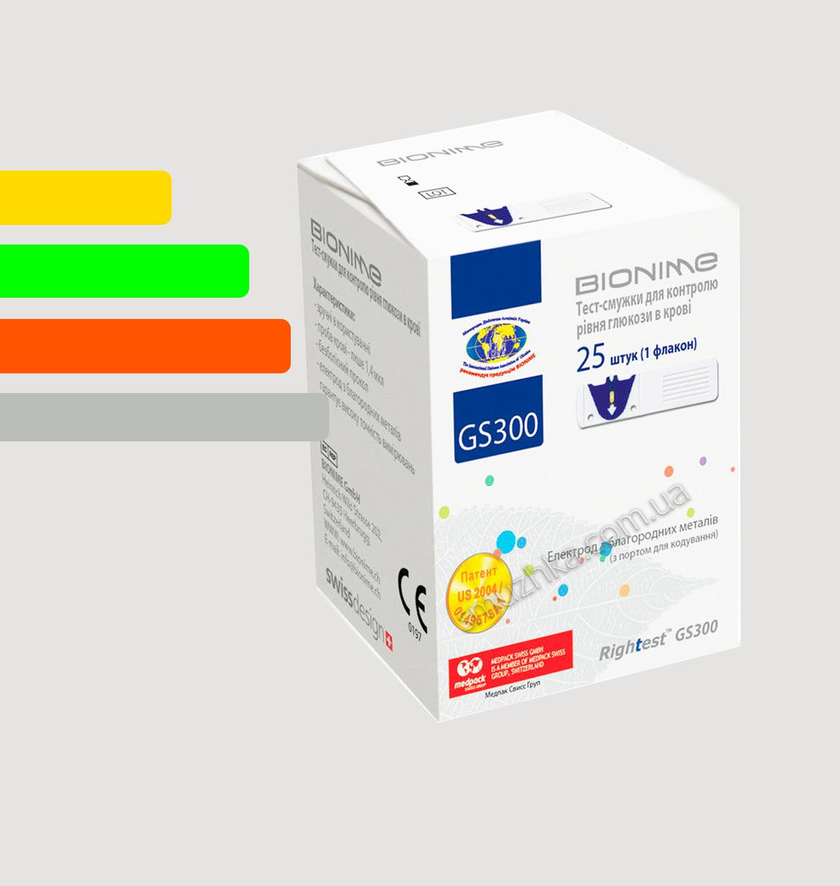 Тест полоски для глюкометра Бионайм GM110,GM300 - Bionime Rightest GS300 #25