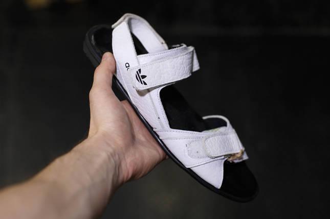 Кожаные мужские сандалии Аdidas  белые, фото 2