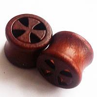 "Тоннель ""Крест""  для пирсинга ушей, диаметр 14 мм. Материал: дерево.(цена за 1шт) , фото 1"