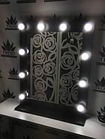 Гримерное зеркало, для визажа. Зеркало в черном цвете