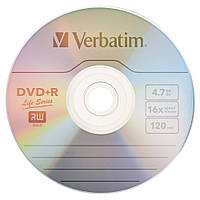 Диск DVD-R для видео Verbatim DVD-R 4,7Gb 16x DATA LIFE Tape Wrap 10 pcs