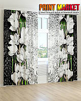 Фотошторы 3д белая орхидея капли на стекле