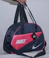 Cумка Nike женская спортивная сине-розовая ремень на плечо размеры 28см х 43см х 15см