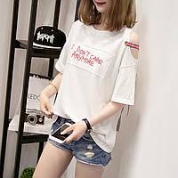 Жіноча вільна футболка I don't care anymore біла