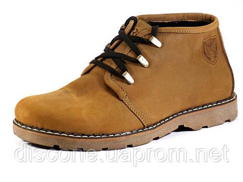 Мужские кожаные ботинки шнуровка зима на меху коричневые