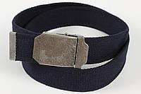 Ремень мужской унисекс джинсовый тканевый однотонный 40 мм темно-синий