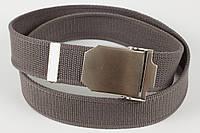 Ремень мужской унисекс джинсовый тканевый однотонный 40 мм серый