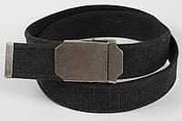 Ремень мужской унисекс джинсовый тканевый однотонный 40 мм темно-серый
