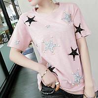 Женская футболка со звездами розовая, фото 1