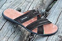 Шлепанцы, сланцы мужские натуральная кожа, кожаная стелька темно коричневые (Код: 1188), фото 1