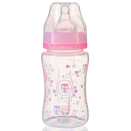 Бутылочка антиколиковая с широким горлышком розовая  240 мл тм Babyono