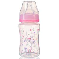 Бутылочка антиколиковая с широким горлышком розовая  240 мл тм Babyono, фото 1