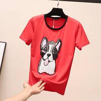 Женская футболка Dog красная, фото 1