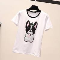 Женская футболка Dog белая