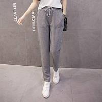 Женские летние штаны в полоску серые