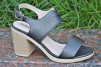 Босоножки на каблуках женские качественные темно серые с перламутром (Код: 1191)