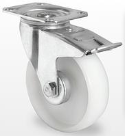 Поворотное колесо с тормозом диаметром 100 мм из полипропилена нагрузка 120 кг