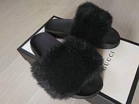 Шлепанцы из натурального меха пушистого кролика, код nlv-7001