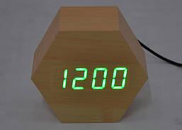 Настольные часы с зеленой подсветкой VST-876-4
